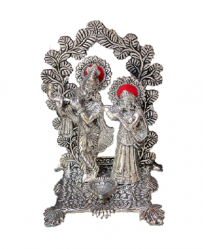 Oxidized Metal Square Radha Krishna With Diya Idol Digin Your
