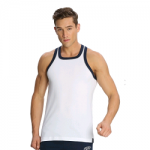 Jockey Men White & Thunder Blue Fashion Power Vest