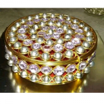 Oval Crystal Golden Jewelry Box
