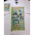 Women's Hand Painted White Half Short Sleeves T-Shirt USA - L