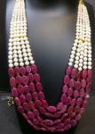 5 Line Mala White and Megenta beads