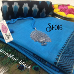 Niks Creation Combo Pack Of Blue Butter Silk Sa...