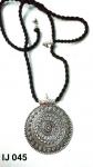 Black Threaded German Silver Rounded Pendant Set