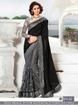 Black Embroidered Gorgettete & Net Saree