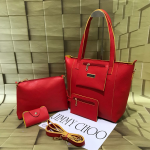 Jimmy Choo Women's 3 In 1 Combo Of Sling Bag , Purse, Card Holder-Red