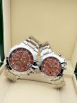 Tommy Hilfiger Couple Brown Dial & Gold -Toned Chronograph Watch