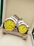 Tommy Hilfiger Couple Yellow Dial & Gold -Toned Chronograph Watch