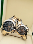 Tommy Hilfiger Couple Black Dial & Gold And Grey -Toned Chronograph Watch