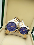 Tommy Hilfiger Couple Blue Dial & Gold -Toned Chronograph Watch