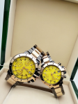 Tommy Hilfiger Couple Yellow Dial, Gold And Grey -Toned Chronograph Watch