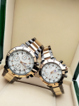 Tommy Hilfiger Couple White Dial & Gold And Grey -Toned Chronograph Watch