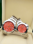Tommy Hilfiger Couple Orange Dial & Gold -Toned Chronograph Watch