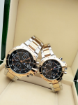 Tommy Hilfiger Couple Black Dial & Gold And Silver -Toned Chronograph Watch