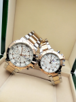 Tommy Hilfiger Couple White Dial & Gold And Silver -Toned Chronograph Watch