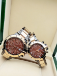 Tommy Hilfiger Couple Brown Dial & Gold And Grey -Toned Chronograph Watch