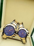 Tommy Hilfiger Couple Blue Dial & Gold And Grey -Toned Chronograph Watch