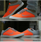 Nike Air Orange-Grey Casual Shoes -Size 8