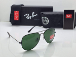 Ray-Ban Aviator Black Frame Sunglasses (Green)