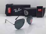 Ray-Ban Aviator Black Frame Sunglasses (Blue)