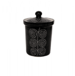 Barnijar container in black colour with white...
