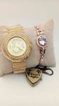 Fashion Quartz Watch Bracelet Combo Studded with Stones Valentine Special