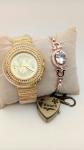 Fashion Quartz Watch Bracelet Combo Studded wit...