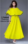 Imported georgette cold shoulder Dress With Pouncho Style Yellow Free Size(Valentine Special)