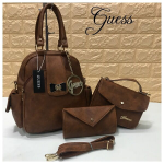 Guess Back Pack Top Quality Brown Bags 3 Pcs Combo