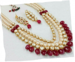 Designer Moti & High quality Kundan Mala with Red Beads