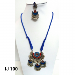 Oxidized Blue Red Two Drop Design Afghani Necklace.