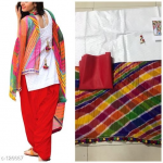 Holi Special Printed Kurtis Dress Material Red