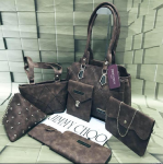 Top Quality Bags Synthetic Material 7 Pcs Combo Grey.