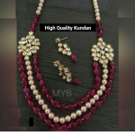 High Quality Kundan Long With Maroon Beads Three Layered Necklace