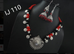 German Silver Thread Red And Black Necklace Earring Set With Round Lotus Pendant