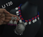 German Silver Thread Blue and Red Necklace Earring Set With Ganapati Pendant