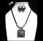 German Silver Thread Black Necklace With Round Earring Set With Square Pendant