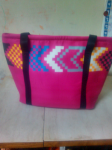 Women's Handmade Cotton Pink Shoulder Bag.