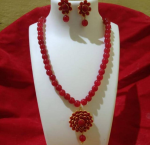 Charming Red Beads Mala With Beautiful Pendant