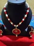 Charming Red And White Beads Mala With Beautifu...