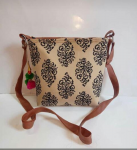 Cotton Sling Bag OffWhite and Brown.