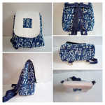 Cotton Sling Bag Blue and White.