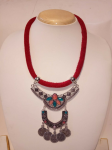 Artificial Red Thread Necklace With Hanging P...