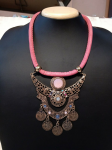 Artificial Pink Thread Necklace With Hanging ...