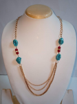 Artificial Blue and Red Beads Mala With Three...