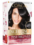 L'Oreal Paris Excellence Creme Hair Color, 1 Black,72ml+100g