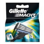 Gillette Mach3 Turbo Manual Shaving Razor Blades Cartridge, 4 pcs