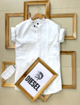 Diesel  Brand - Ban Collar Kurta Style With Titch Button With Same Color Mask -White Colour, Size- M