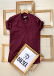 Diesel  Brand- Ban Collar Kurta Style With Titch Button With Same Color Mask -Maroon Colour, Size- M