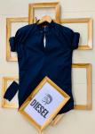 Diesel  Brand- Ban Collar Kurta Style With Titch Button With Same Color Mask -Navy Blue Colour, Size- L.