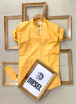 Diesel  Brand- Ban Collar Kurta Style With Titch Button With Same Color Mask -Yellow Colour, Size- M.